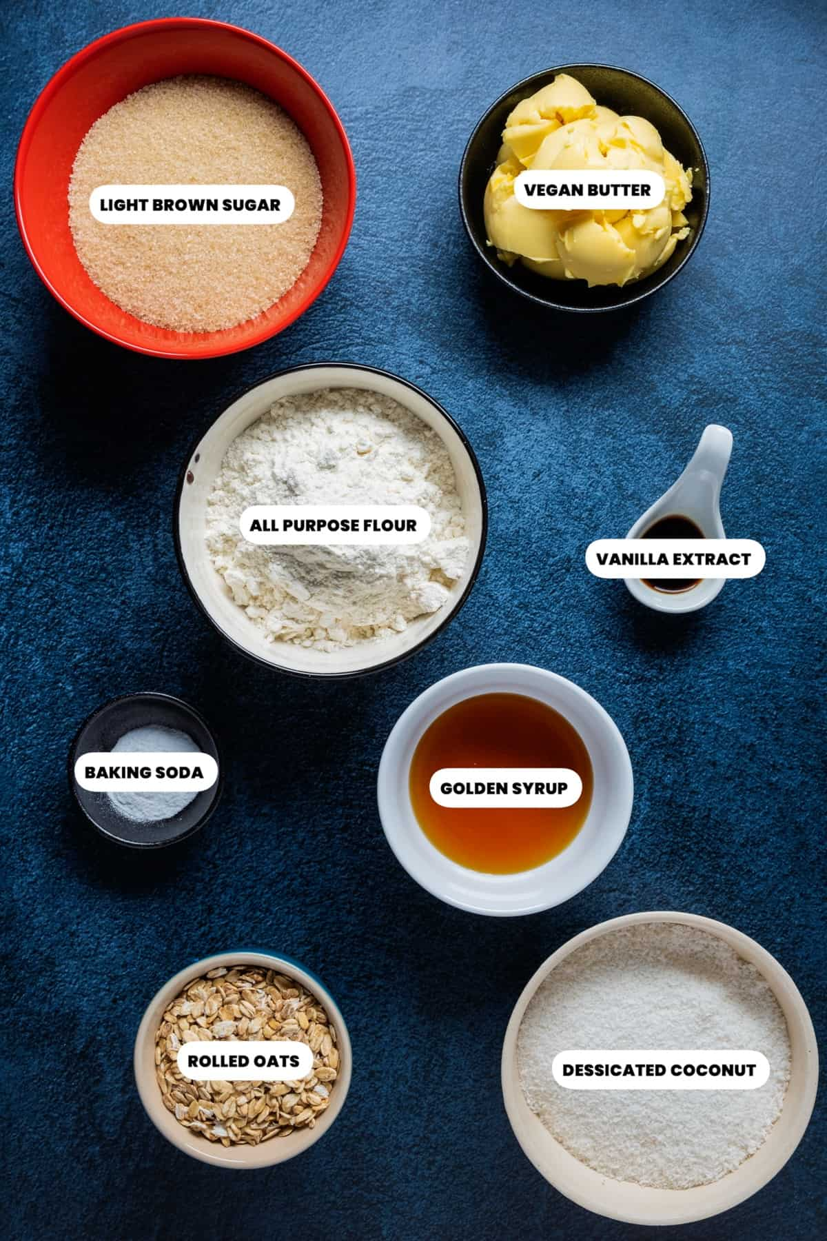 Photo of the ingredients needed to make vegan Anzac biscuits.