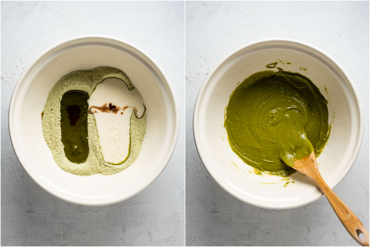 Collage of two photos showing wet ingredients added to dry and mixed into a batter.