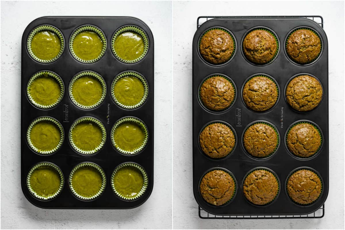 Two photo collage showing matcha cupcakes before and after baking.