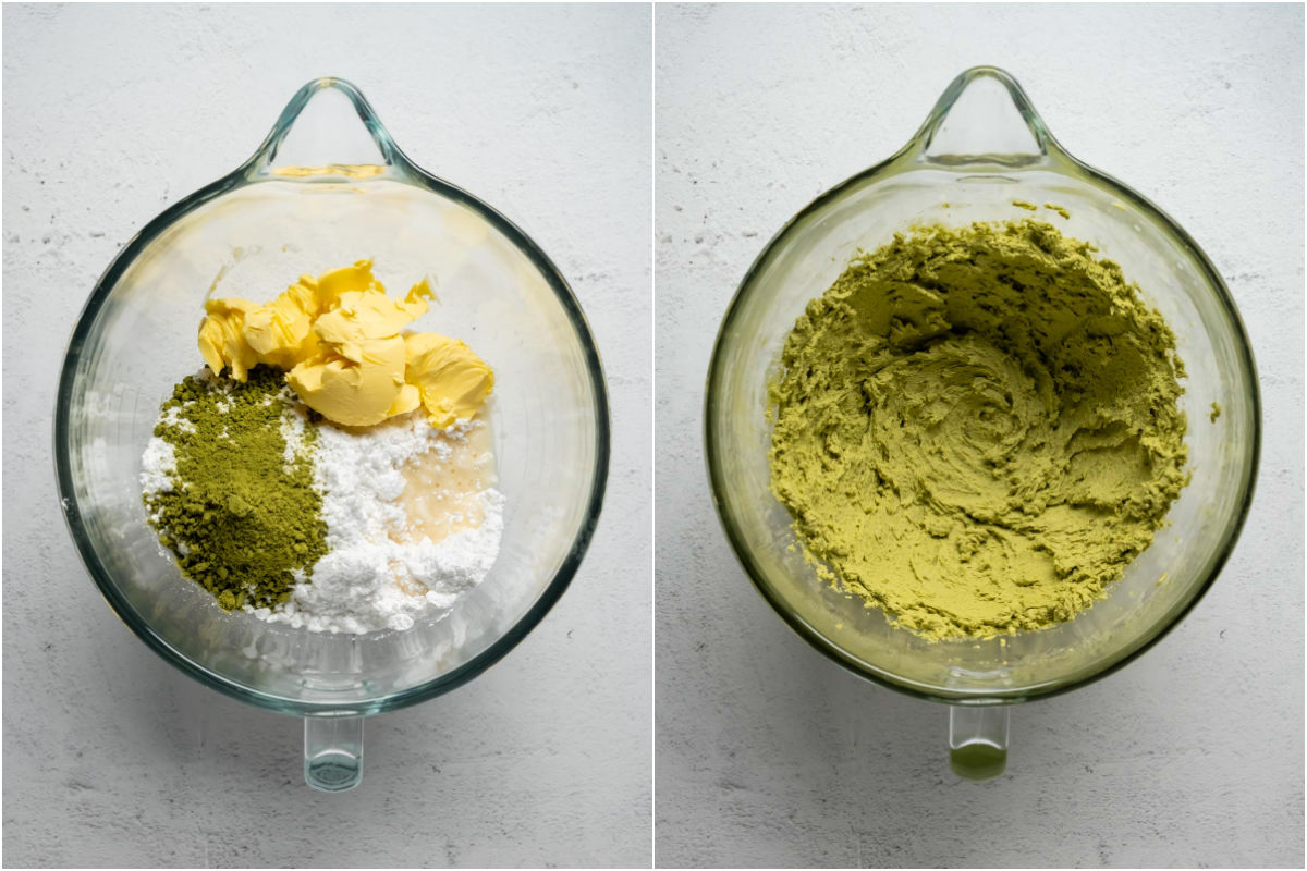 Collage of two photos showing matcha frosting ingredients added to stand mixer and mixed into frosting.