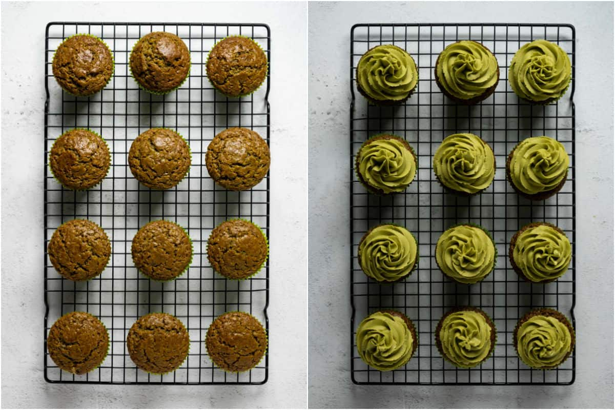 Two photo collage showing matcha cupcakes on a wire cooling rack and then frosted with matcha frosting.