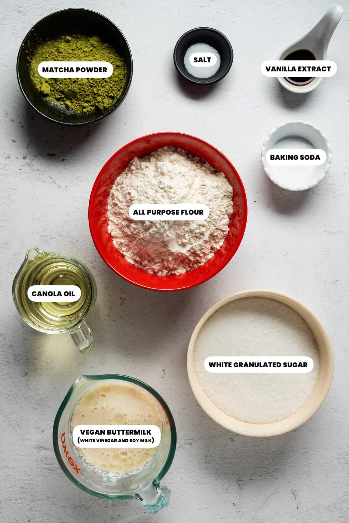Photo of the ingredients needed to make vegan matcha cupcakes.