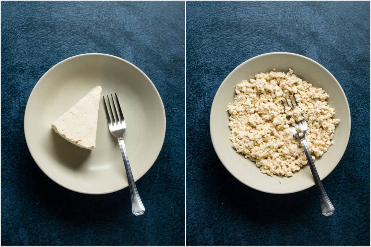 Two photo collage showing tofu in a bowl and then mashed with a fork.