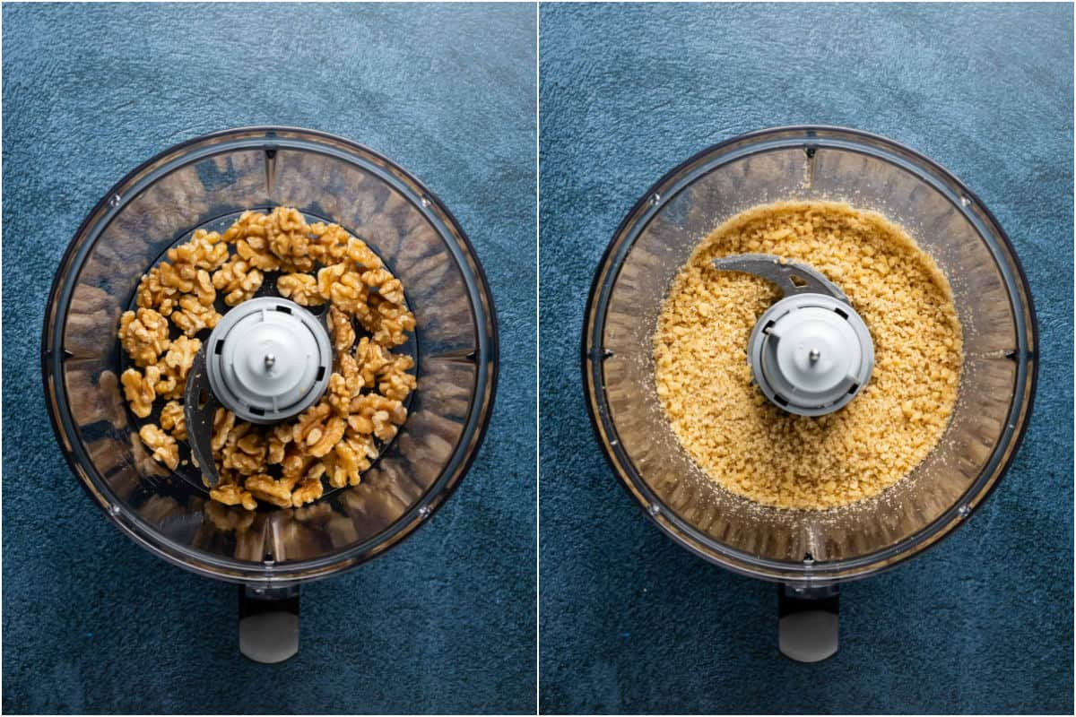 Two photo collage showing walnuts in a food processor and then processed until fine.