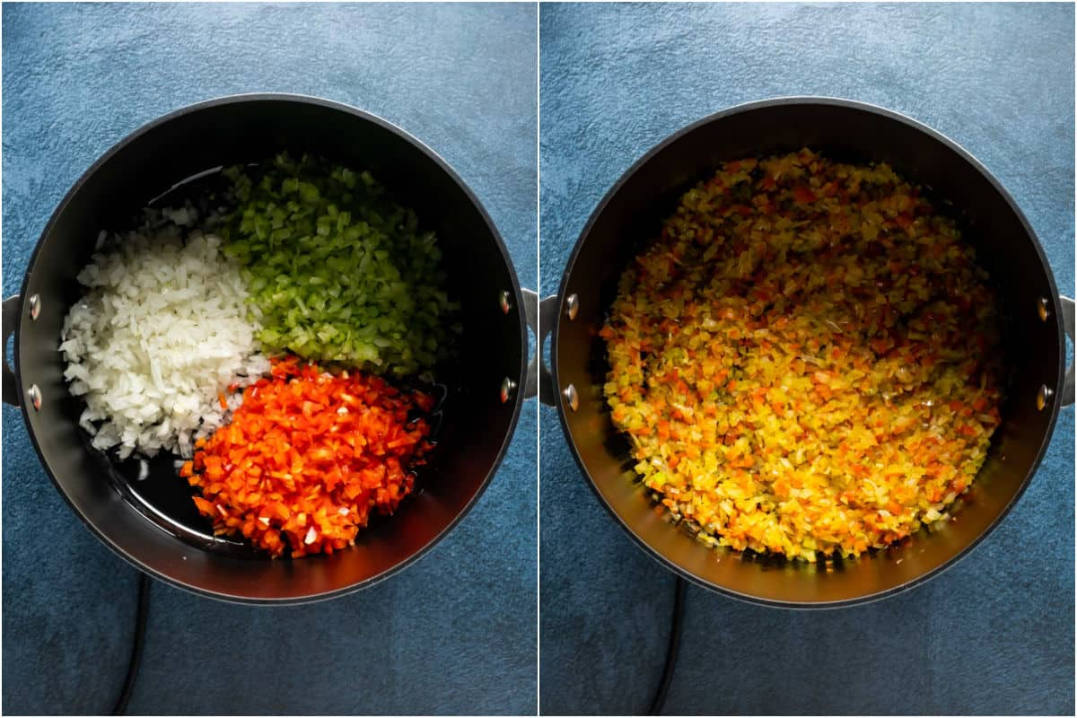 Two photo collage showing olive oil, onions, celery and chopped red bell pepper added to pot and sautéed.