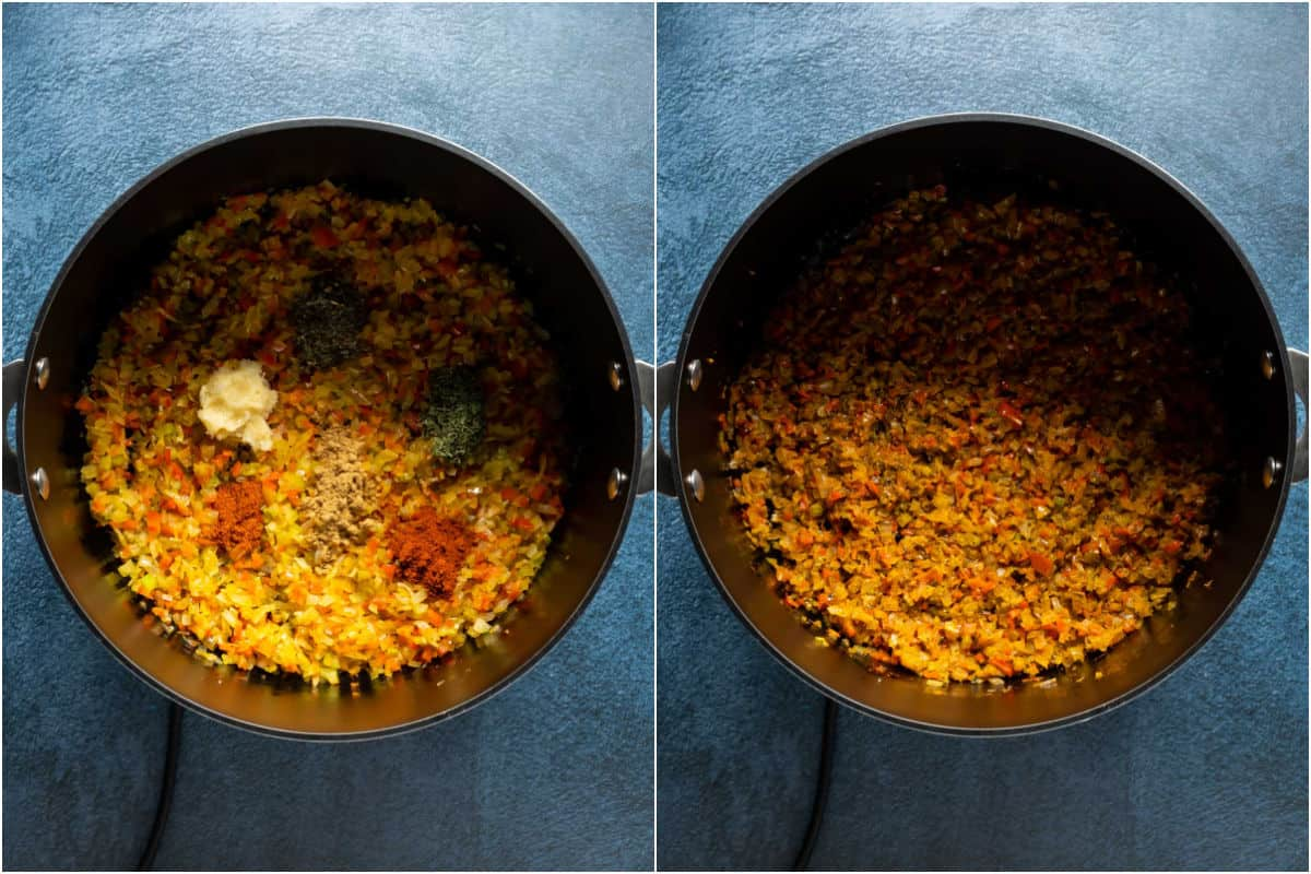 Two photo collage showing garlic and spices added to pot and sautéed.