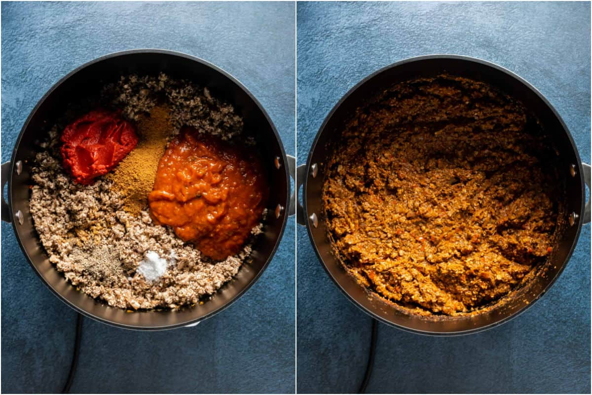 Two photo collage showing mince mix added to pot along with marinara sauce, tomato paste, soy sauce, coconut sugar, salt and pepper and cooked into a vegan mince.
