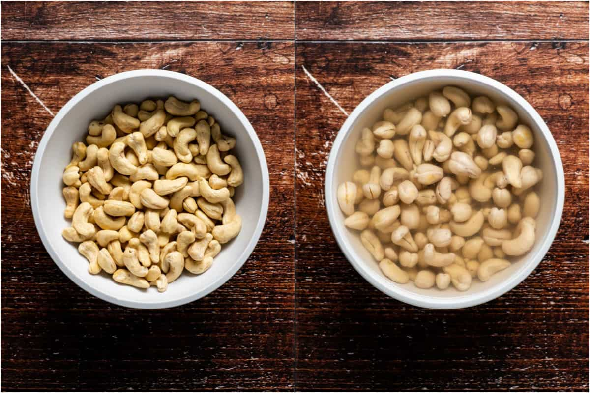 Two photo collage showing raw cashews added to a bowl and then water poured on top and left to soak.