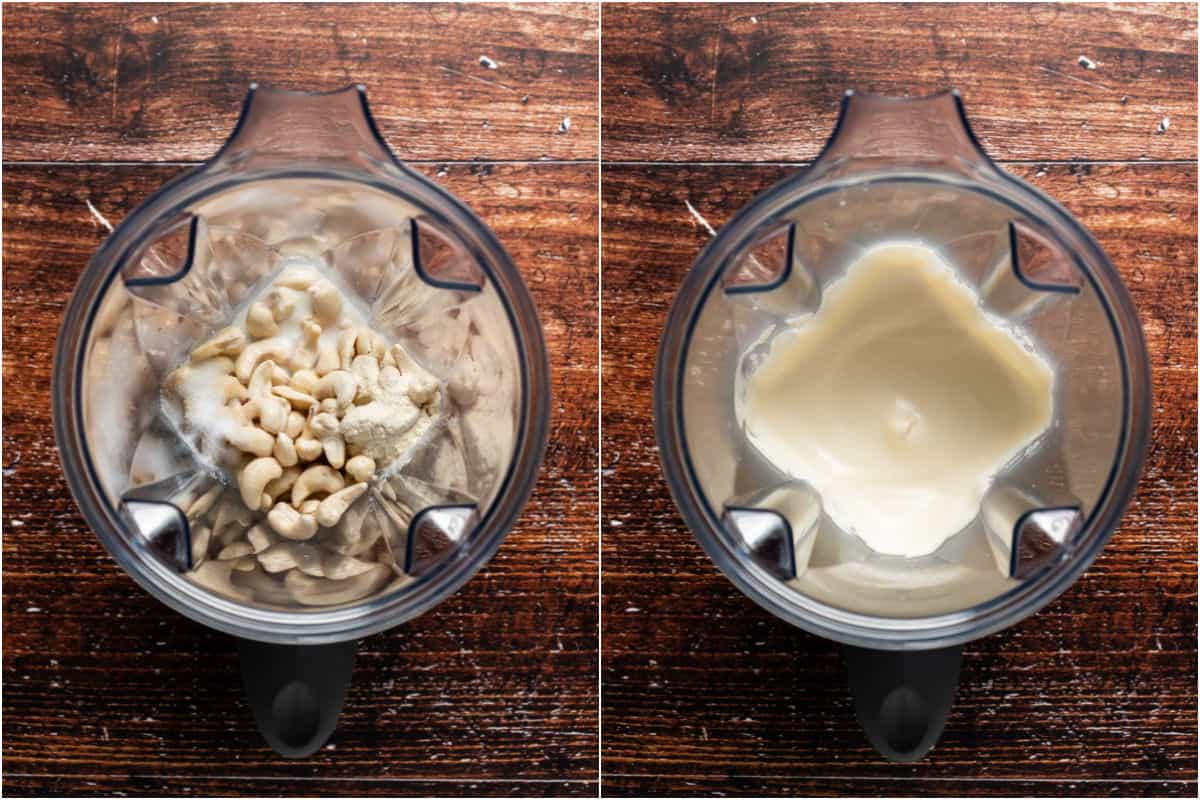 Two photo collage showing vegan cream cheese ingredients added to blender and blended.