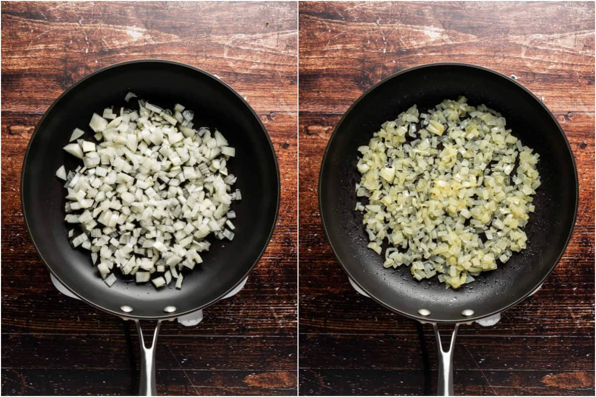 Two photo collage showing onions and oil added to pan and sautéed until softened.