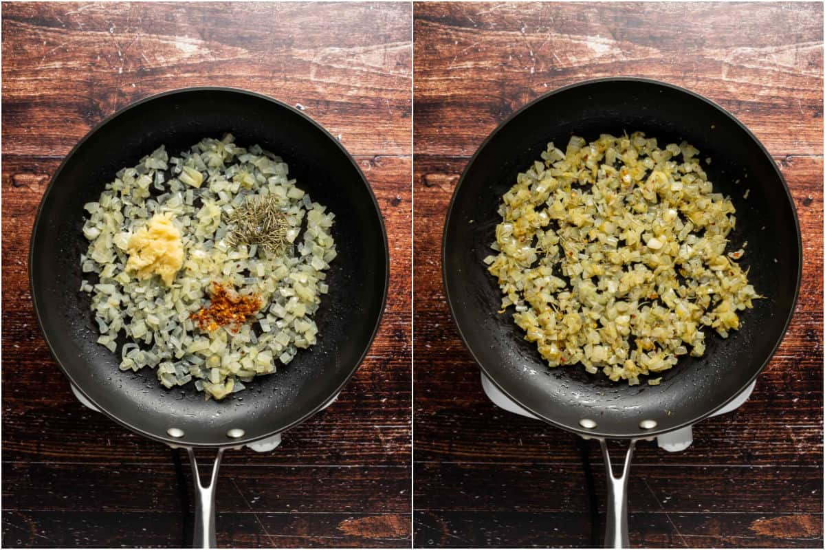 Two photo collage showing crushed garlic and spices added to onions in the pan and sautéed.