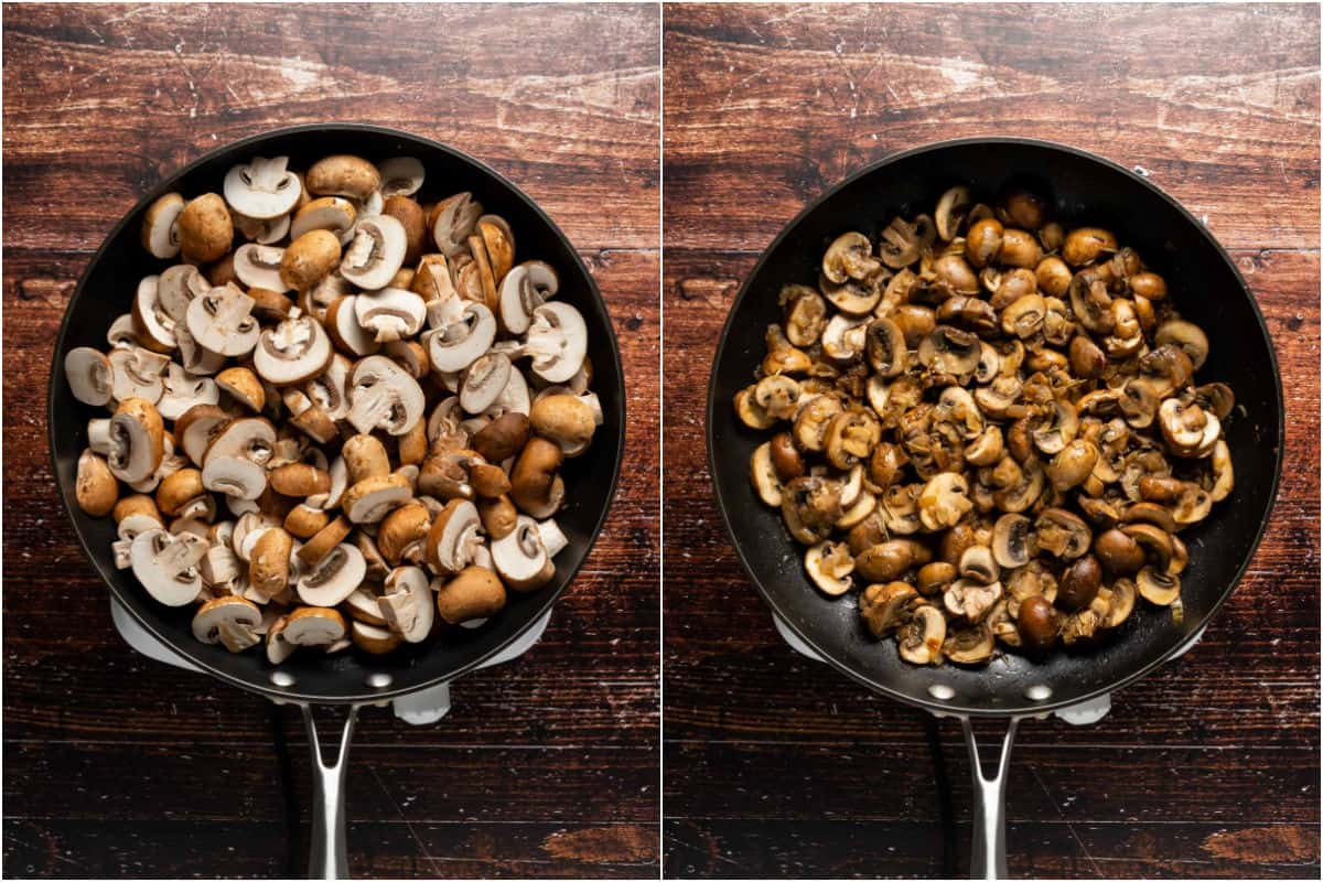 Two photo collage showing sliced mushrooms added to pan and sautéed.