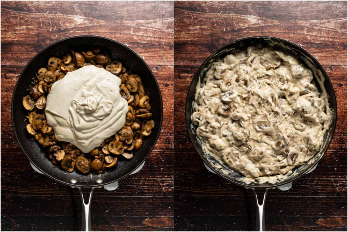 Two photo collage showing vegan cream cheese added to mushrooms in pan and mixed in.
