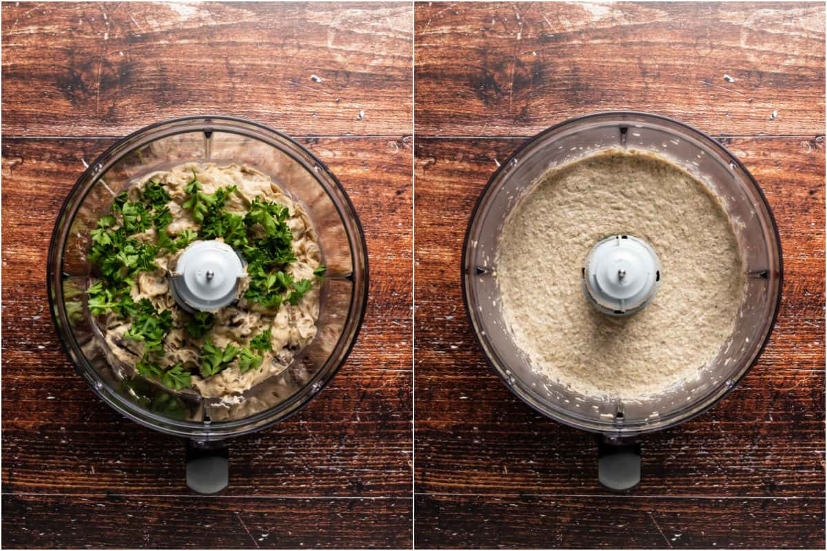 Two photo collage showing mushroom mix added to food processor with chopped parsley and processed.