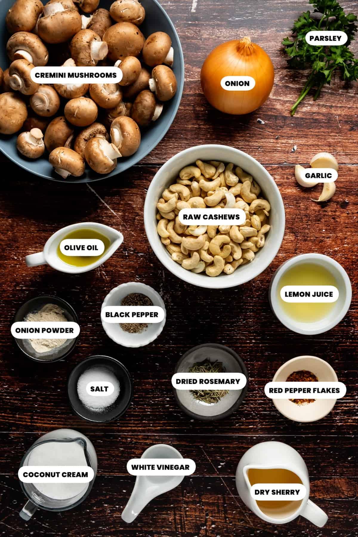 Photo of the ingredients needed to make vegan mushroom pâté