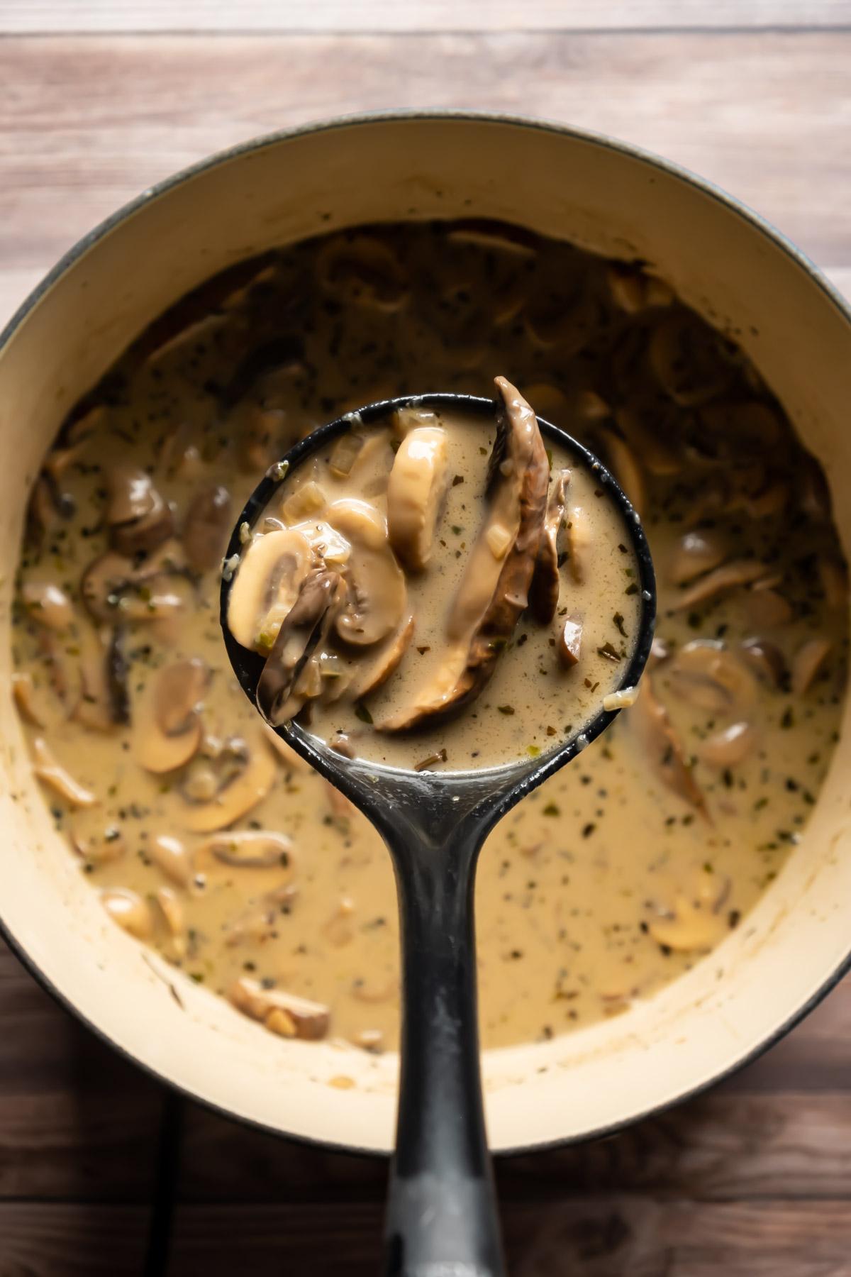 A soup ladle full of soup above a pot of vegan mushroom soup.