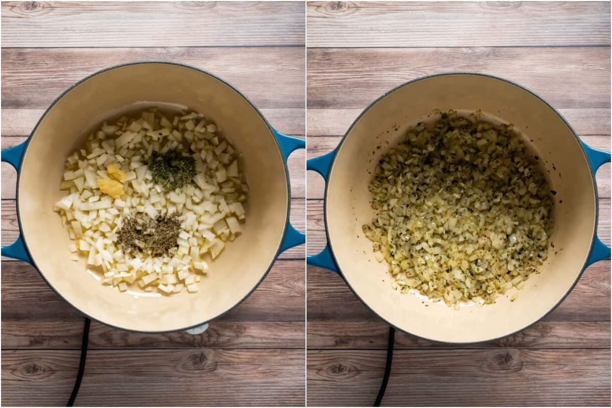 Collage of two photos showing chopped onion, garlic and spices added to a pot and sautéed.