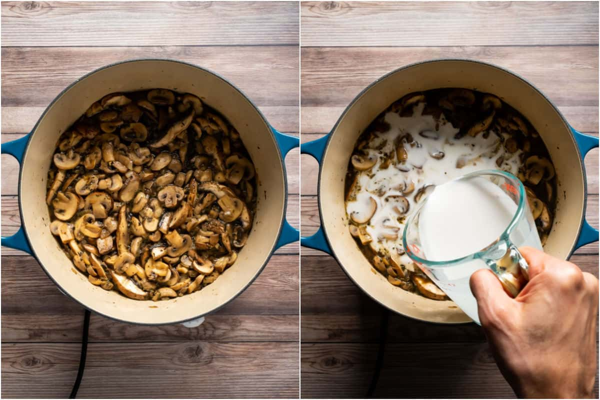 Collage of two photos showing the cooked down mushrooms in the pot and then coconut milk added.