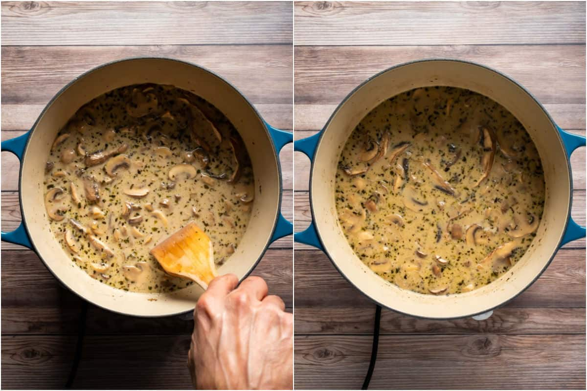 Two photo collage showing the soup simmering, stirred occasionally.