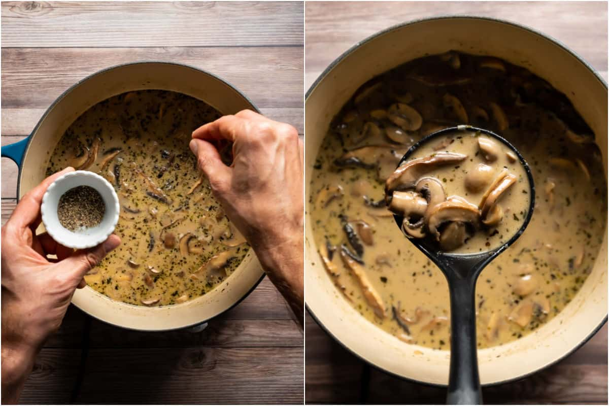 Two photo collage showing salt and pepper added to pot and then a soup ladle lifting soup out of the pot.