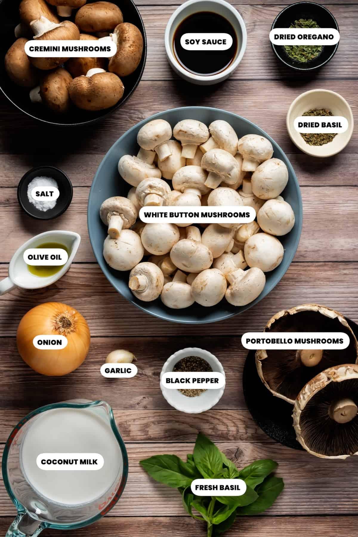 Photo of the ingredients needed to make vegan mushroom soup.