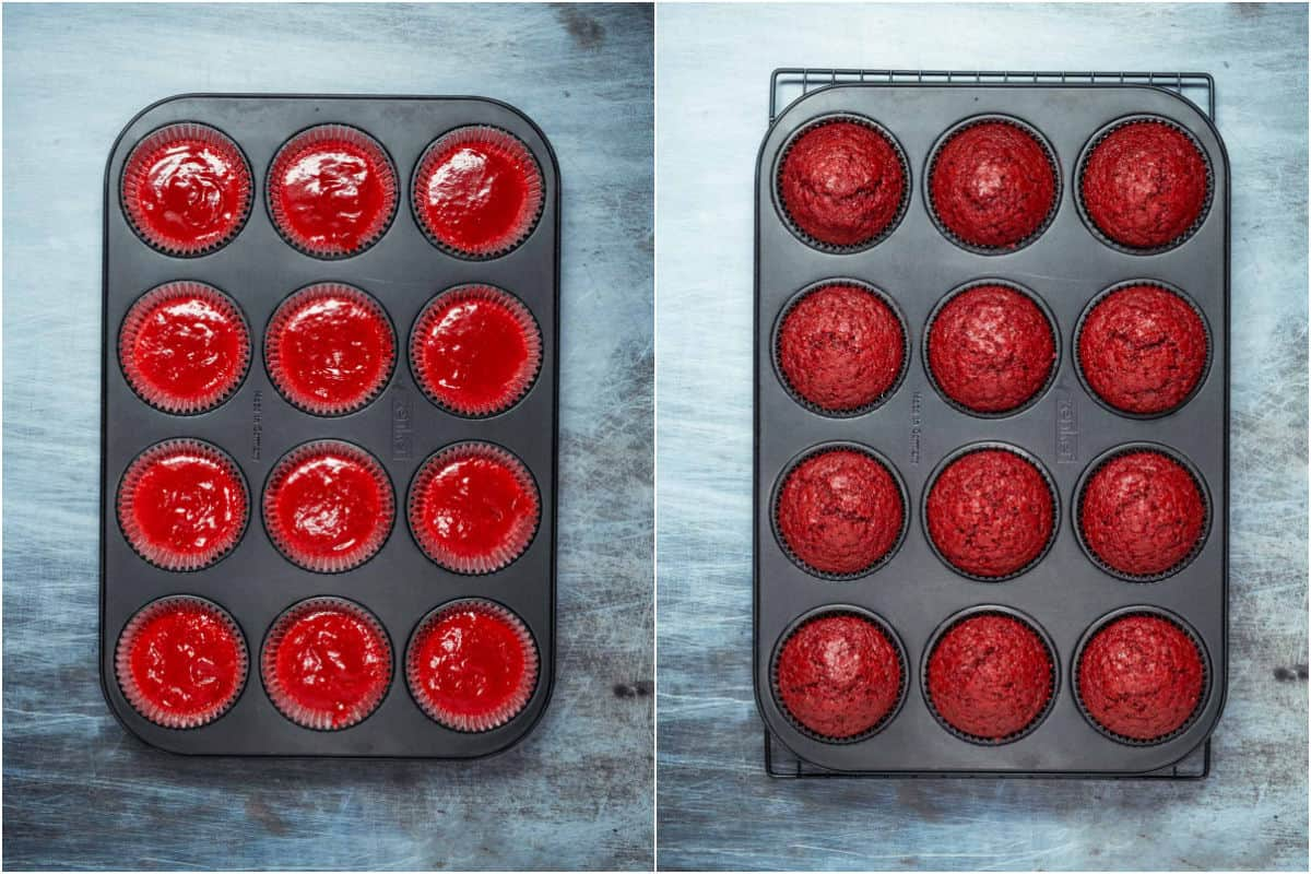 Collage of two photos showing red velvet cupcakes before and after baking.