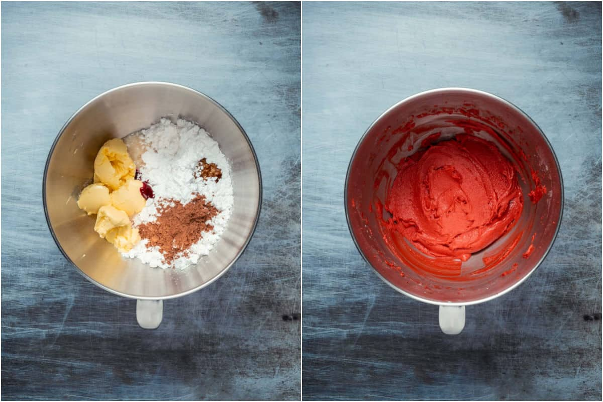 Two photo collage showing frosting ingredients added to stand mixer and mixed into frosting.