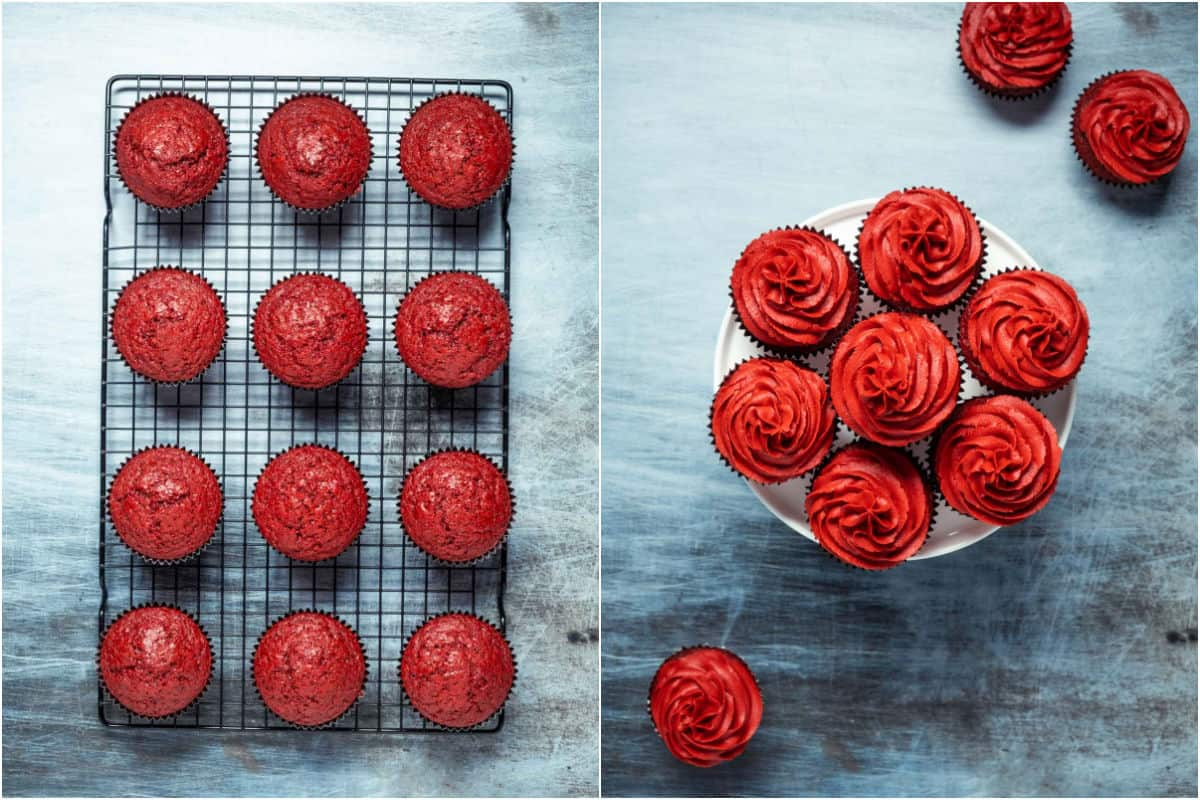 Two photo collage showing cupcakes on wire cooling rack and then frosted on a white cake stand.