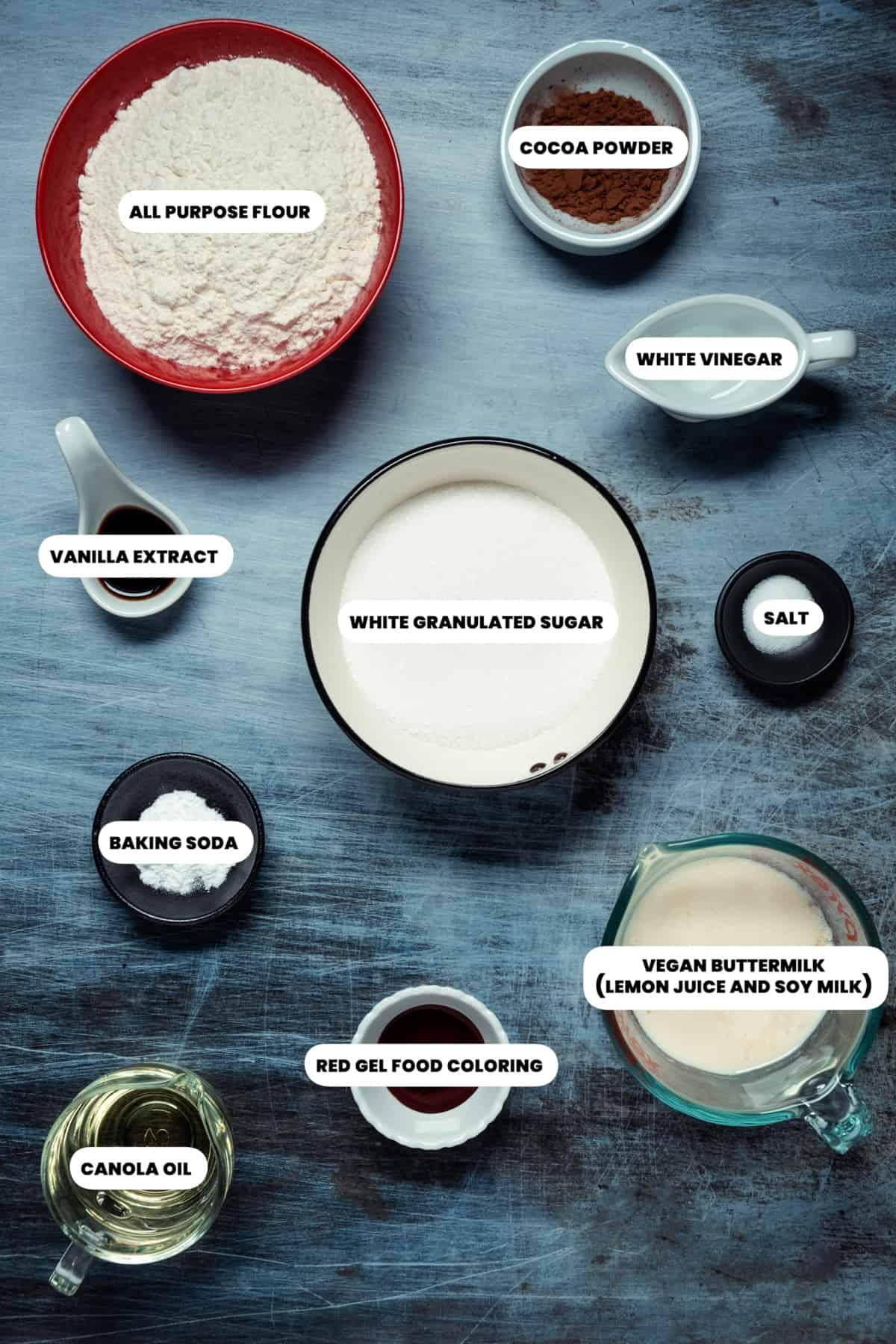 Photo of the ingredients needed to make vegan red velvet cupcakes.