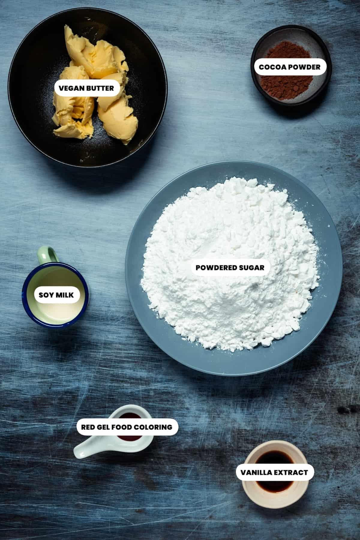 Photo of the ingredients to make vegan red velvet frosting.