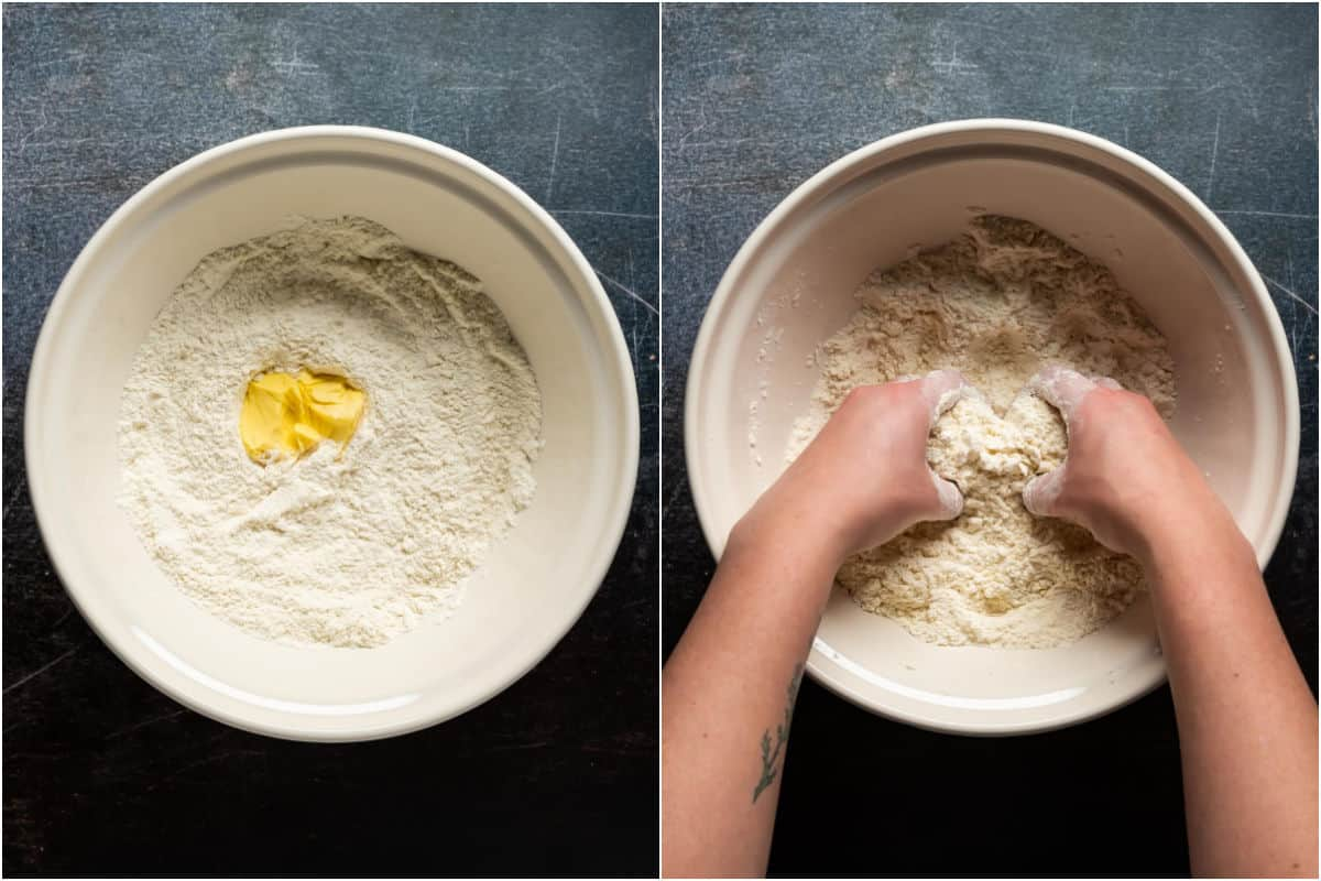 Two photo collage showing vegan butter added to mixing bowl and mixed in by hand until crumbly.