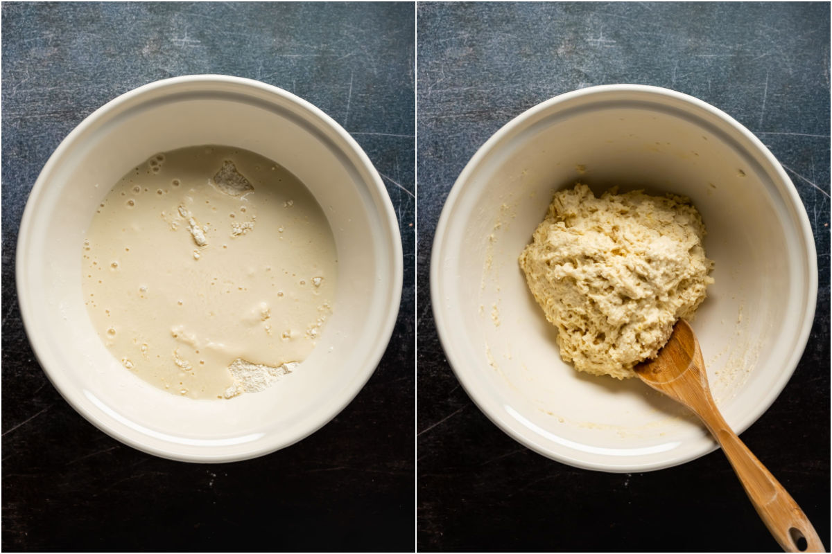 Two photo collage showing vegan buttermilk added to mixing bowl and mixed into a shaggy dough.