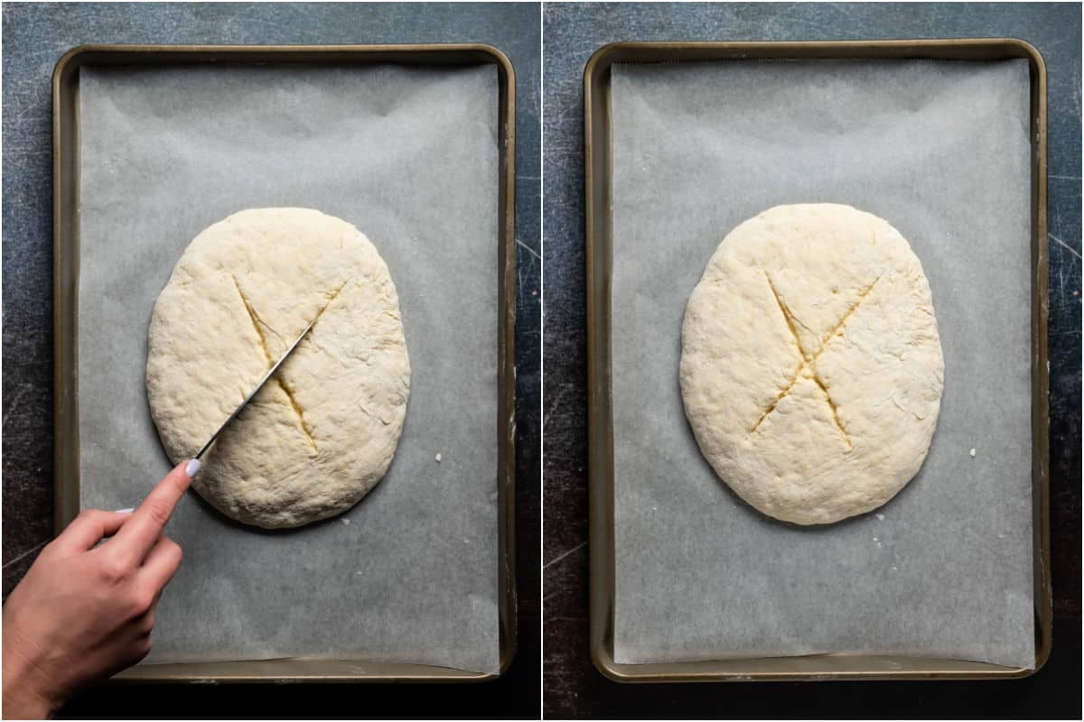 Two photo collage showing cutting diagonal lines into the dough on a baking tray.