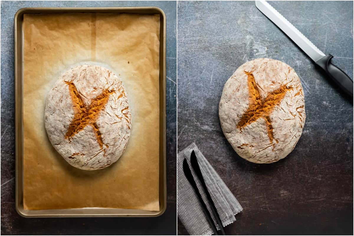Two photo collage of the baked vegan soda bread.