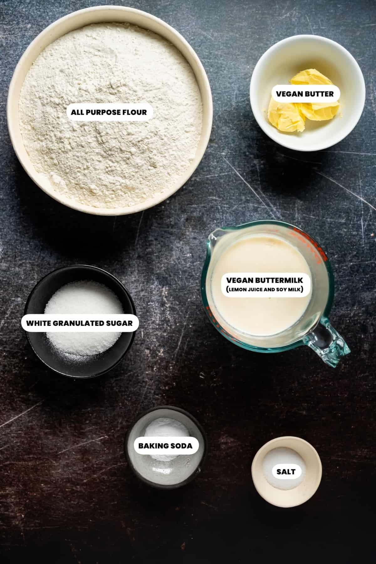 Photo of the ingredients needed to make vegan soda bread.