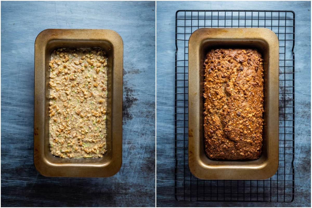 Collage of two photos showing zucchini bread before and after baking.
