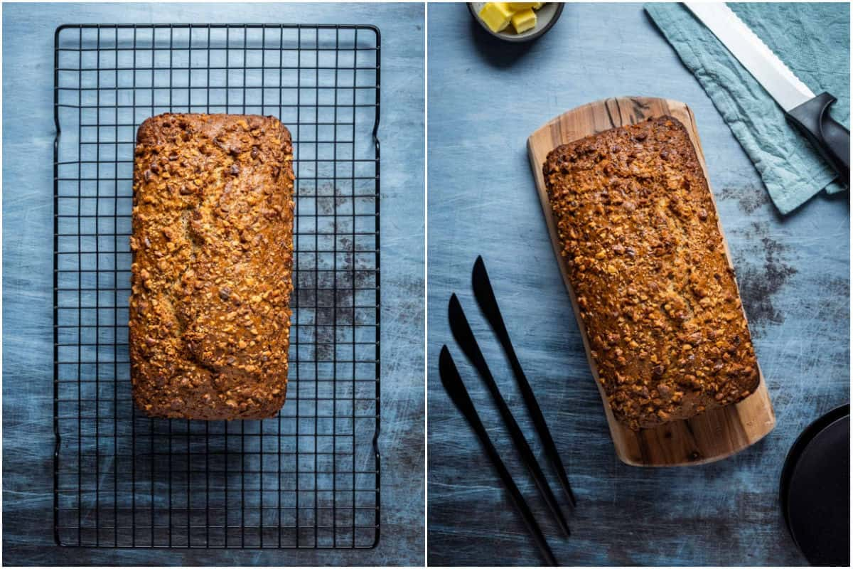 Collage of two photos showing zucchini bread cooling on wire rack and then on a wooden board ready to slice.