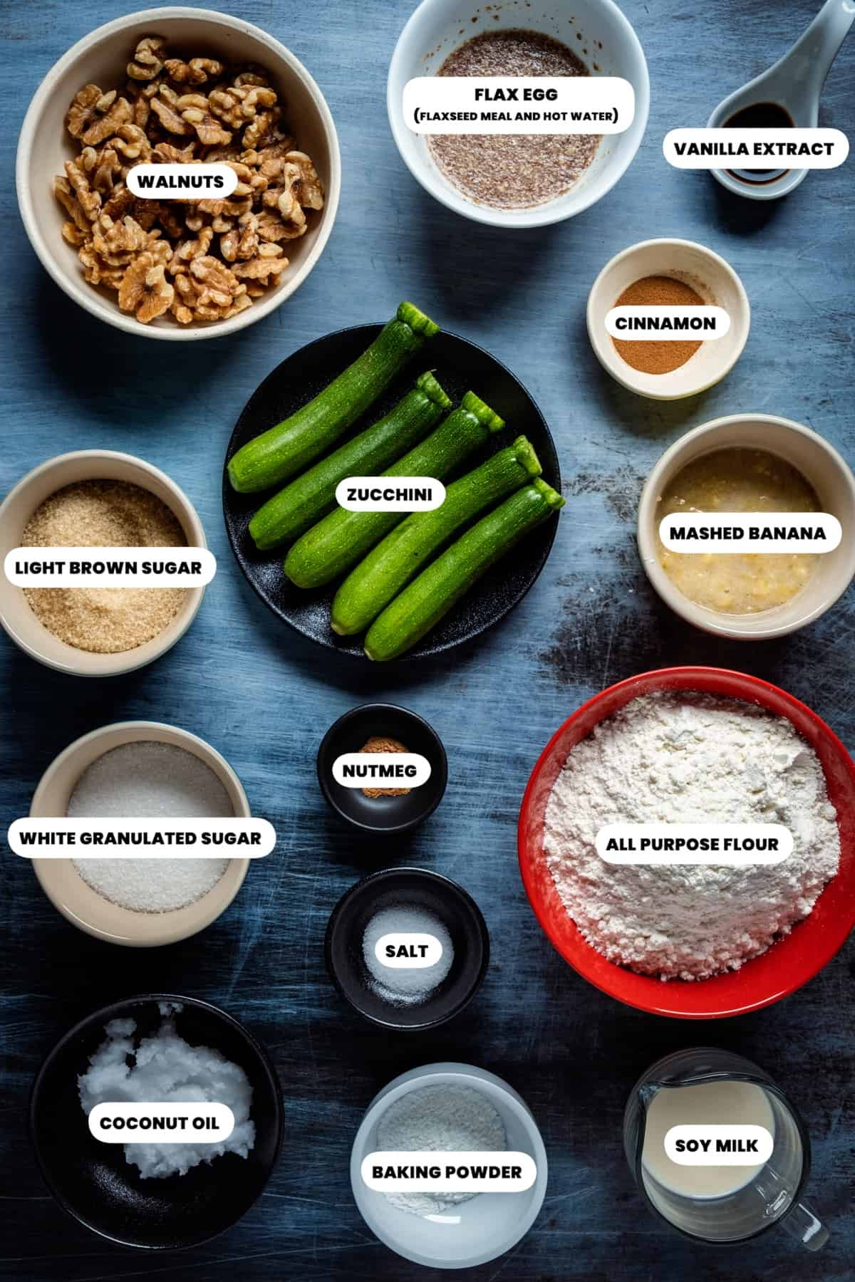 Photo of the ingredients needed to make vegan zucchini bread.