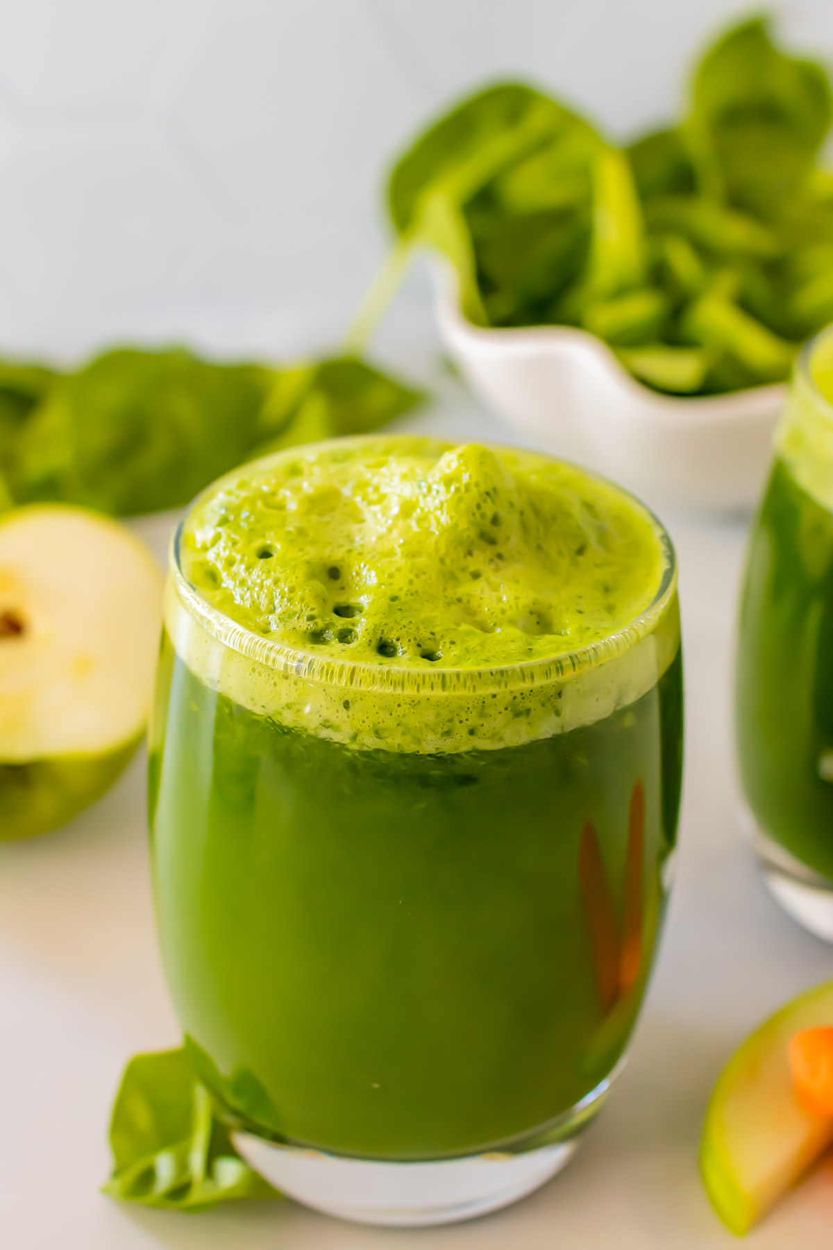 Green juice in a glass.