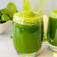 Glasses of green juice.