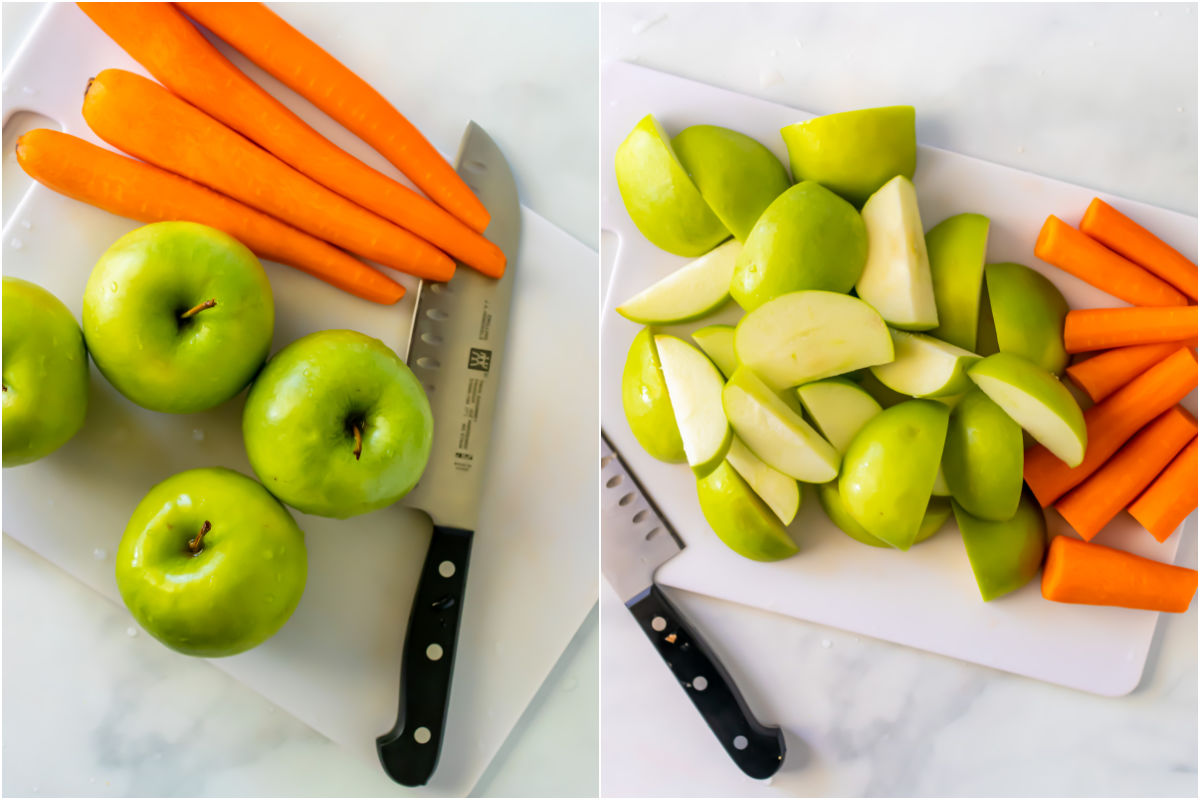 Two photo collage showing apples and carrots on a cutting board and then cut into pieces.