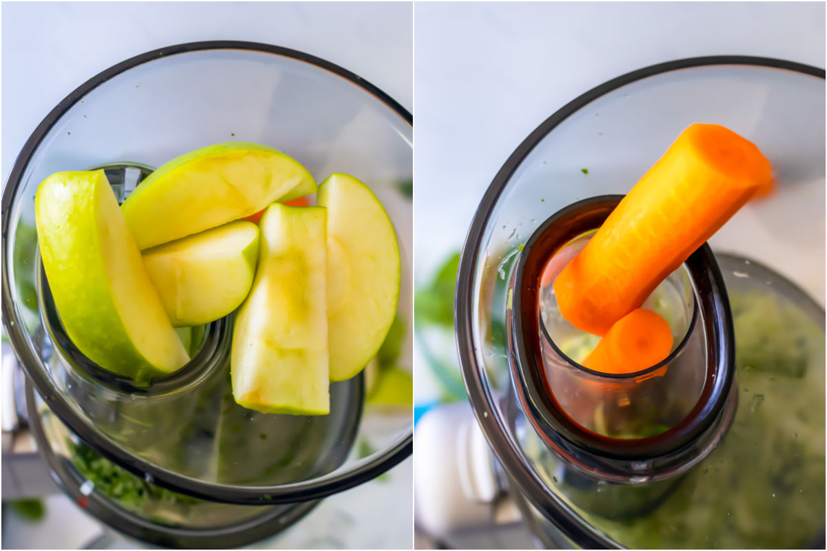 Two photo collage showing apples and carrots feeding into a juicer.