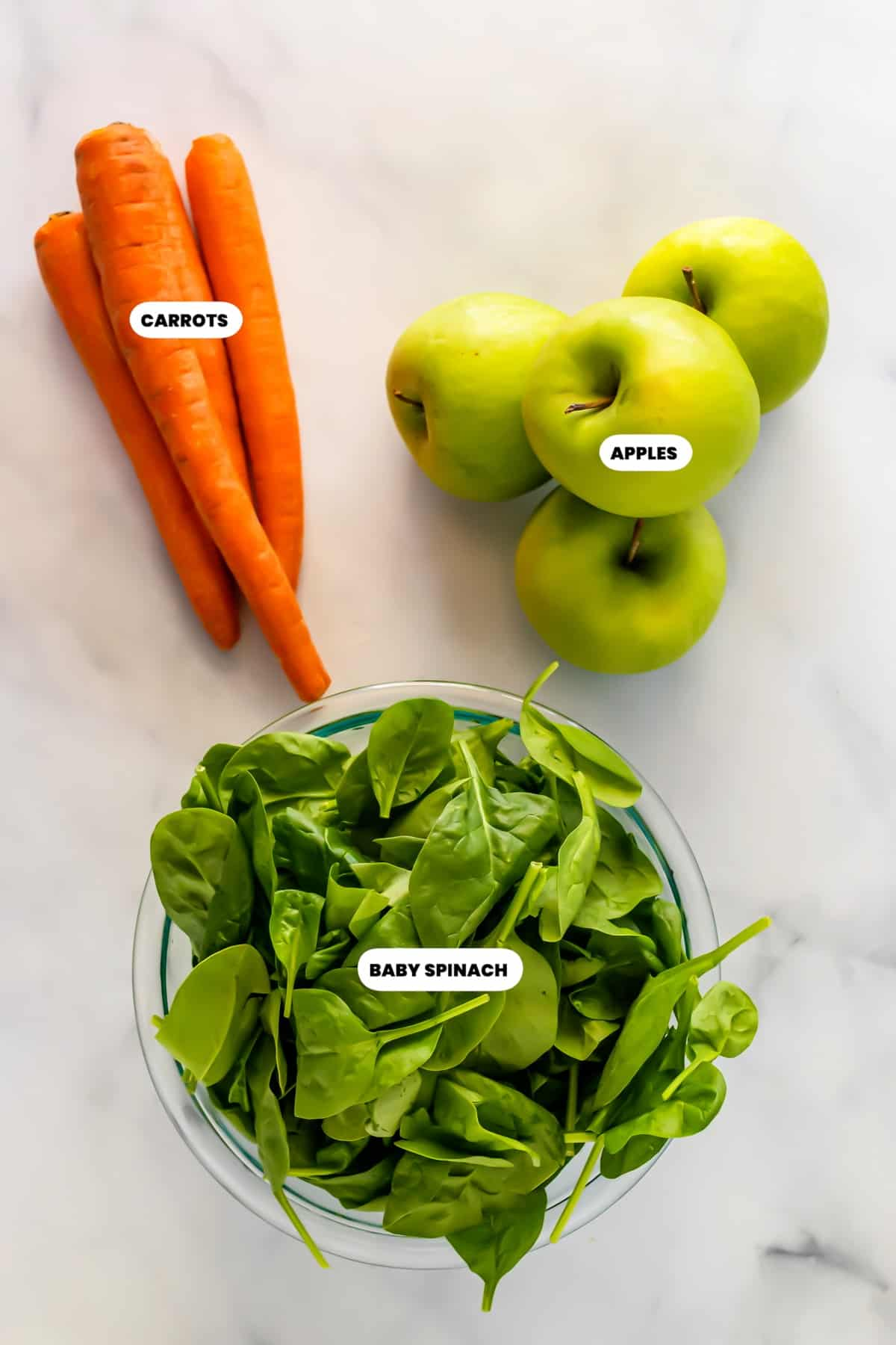 Photo of the ingredients needed to make a green juice.