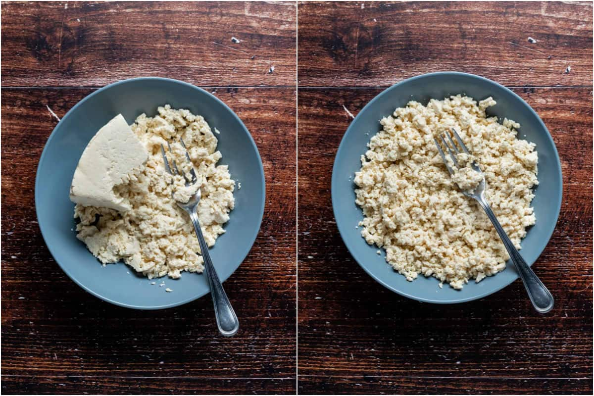 Two photo collage showing tofu in a bowl being mashed up with a fork.