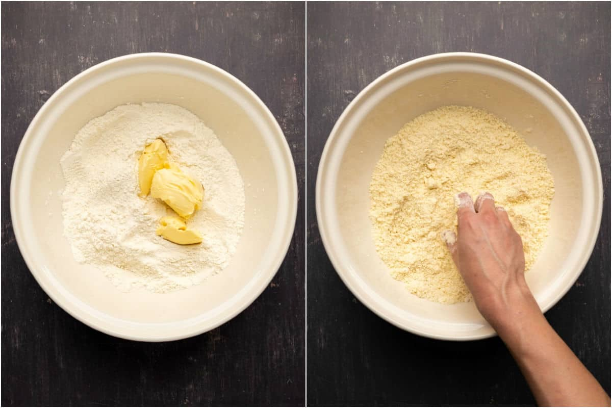 Two photo collage showing vegan butter added and mixed in by hand until crumbly.