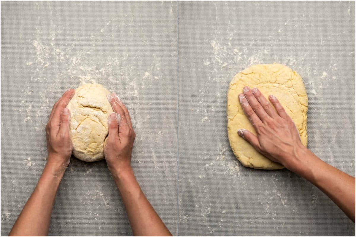 Two photo collage showing forming the dough into a round ball and then flattening it out.