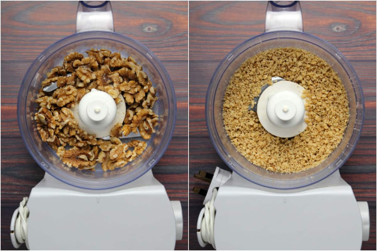 Two photo collage showing walnuts added to food processor and processed until finely chopped.