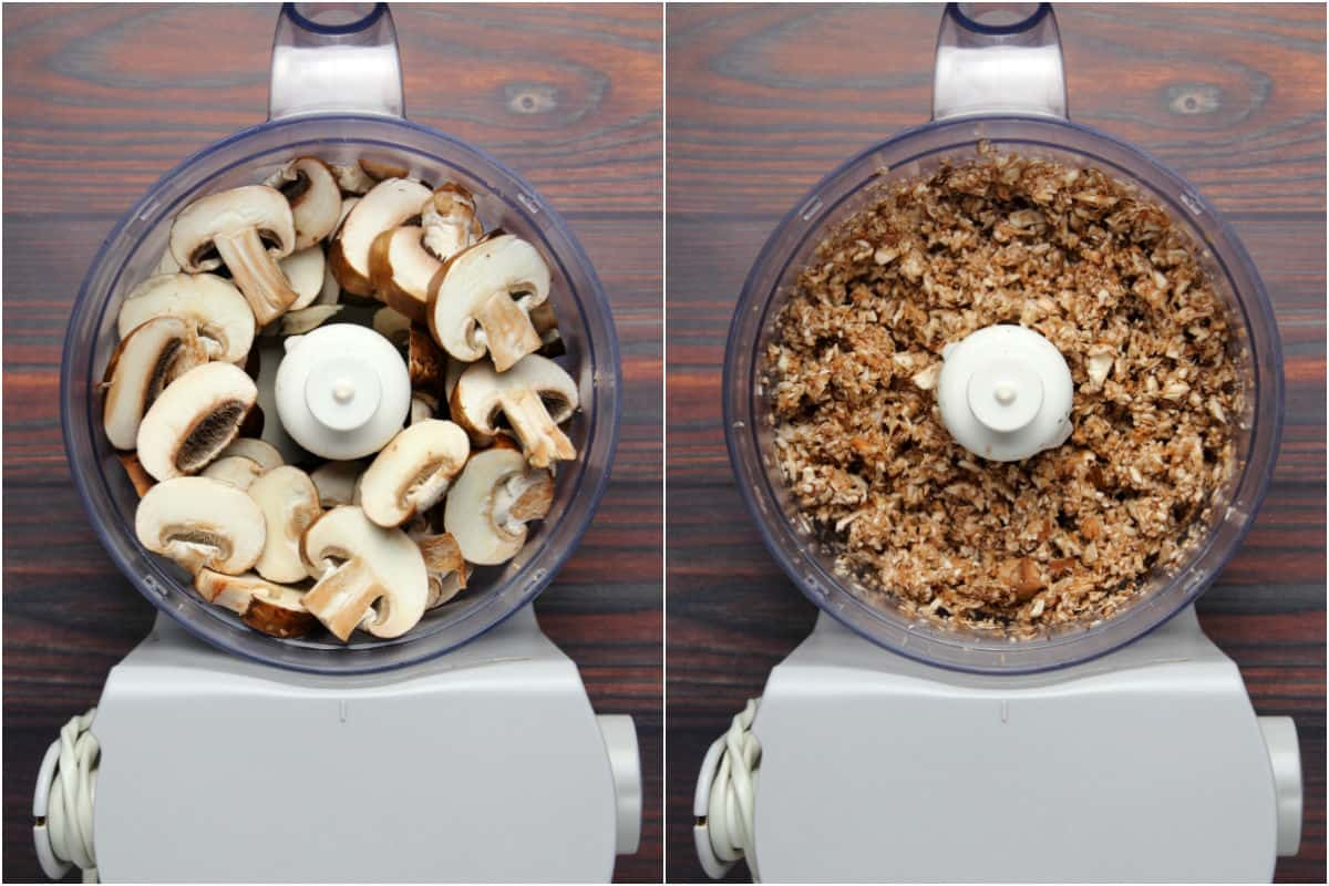 Two photo collage showing mushrooms added to food processor and processing until finely chopped.