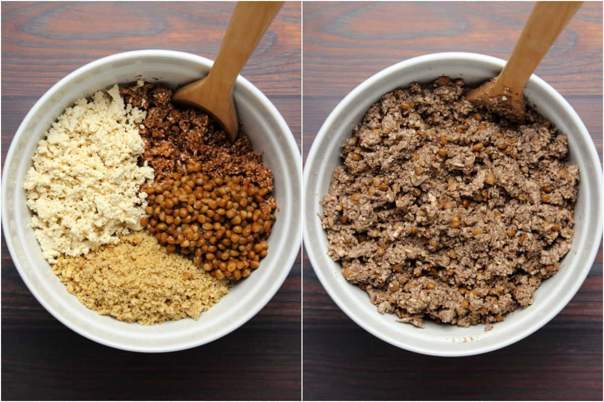 Two photo collage showing tofu, walnuts, mushrooms and lentils added to mixing bowl and mixed together.