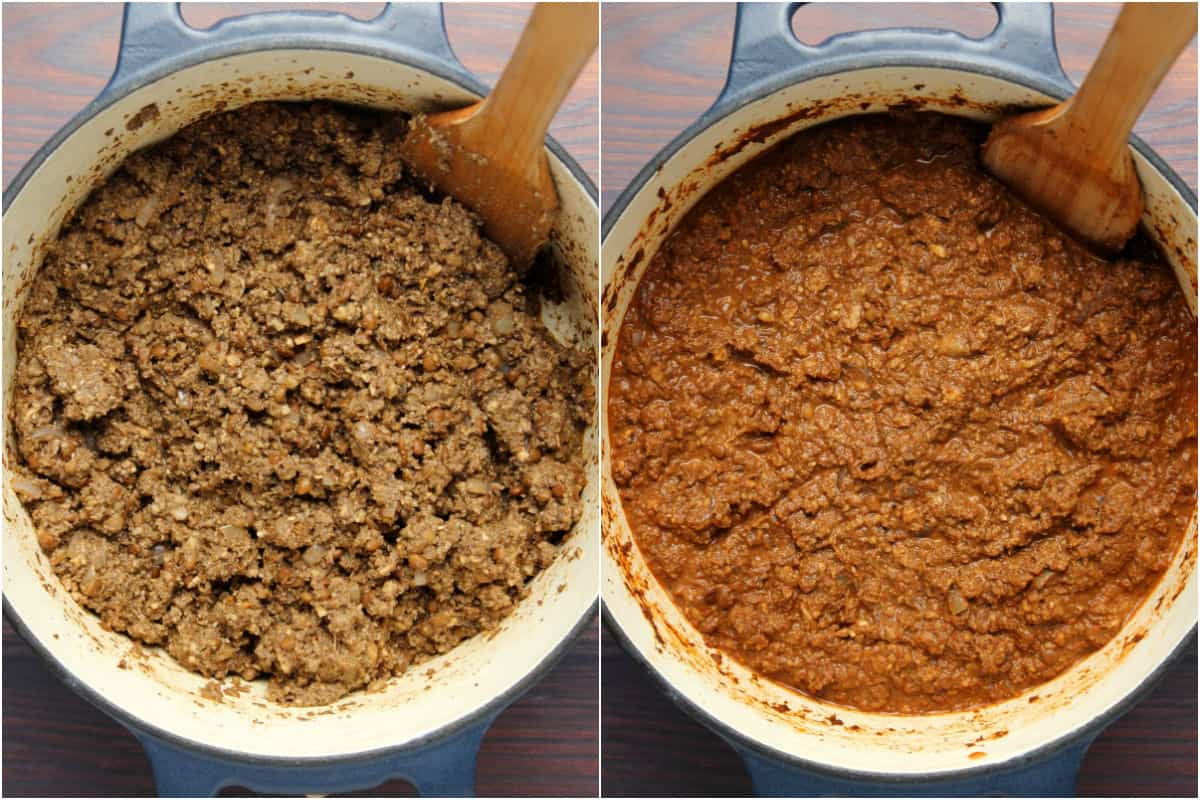 Two photo collage showing vegan bolognese sauce cooking in the pot and then the cooked sauce.